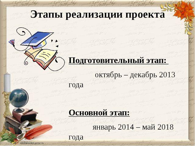 Этапы реализации проекта Подготовительный этап: октябрь – декабрь 2013 года О...
