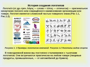 История создания логотипов Логоти́п(от др.-греч. λόγος — слово + τύπος — отп