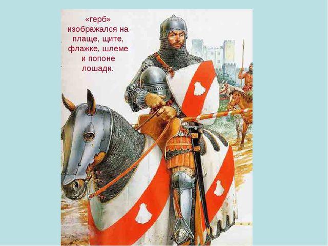 «герб» изображался на плаще, щите, флажке, шлеме и попоне лошади.