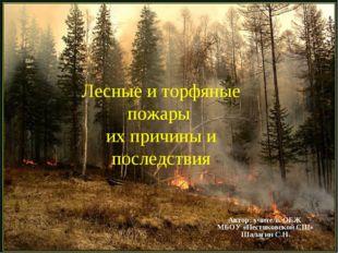 Лесные и торфяные пожары их причины и последствия Автор: учитель ОБЖ МБОУ «Пе