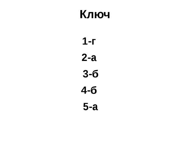 Ключ 1-г 2-а 3-б 4-б 5-а 6-а 7-г 8-б 9-г 10-в