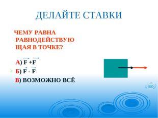 ДЕЛАЙТЕ СТАВКИ ЧЕМУ РАВНА РАВНОДЕЙСТВУЮЩАЯ В ТОЧКЕ? А) F +F Б) F - F В) ВОЗМО