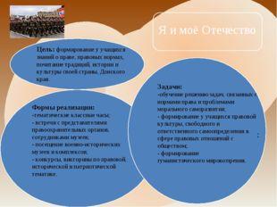 Цель:формирование у учащихся знаний о праве, правовых нормах, почитание трад