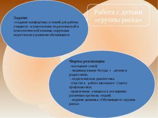 Задачи: -создание комфортных условий для работы учащихся, осуществление педа