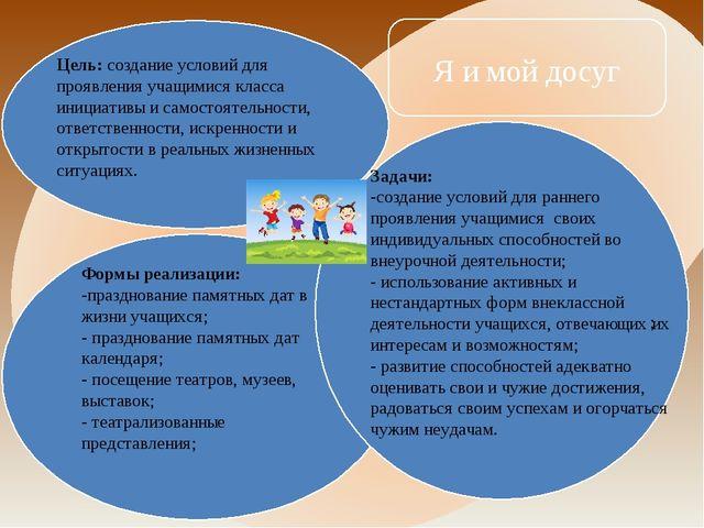 Цель: создание условий для проявления учащимися класса инициативы и самостоят...