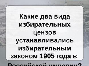 Какие два вида избирательных цензов устанавливались избирательным законом 19
