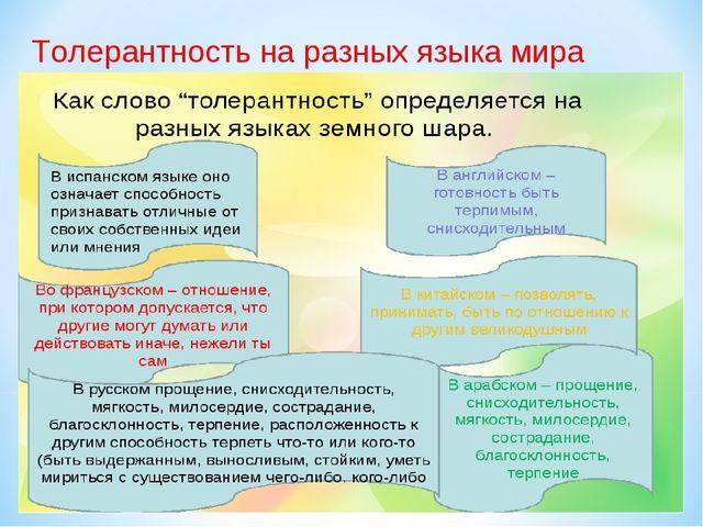 Толерантность на разных языка мира