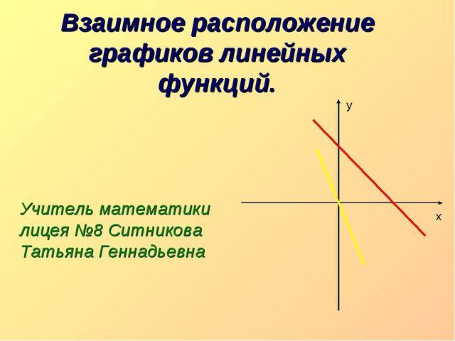 Взаимное расположение графиков линейных функций. Учитель математики лицея №8...