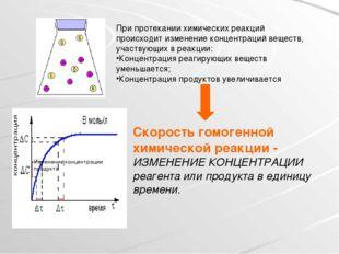 При протекании химических реакций происходит изменение концентраций веществ,