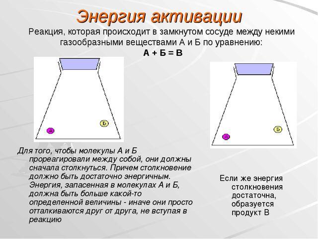 Энергия активации Реакция, которая происходит в замкнутом сосуде между некими...