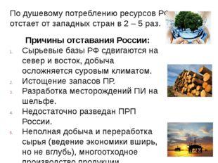 По душевому потреблению ресурсов РФ отстает от западных стран в 2 – 5 раз. Пр