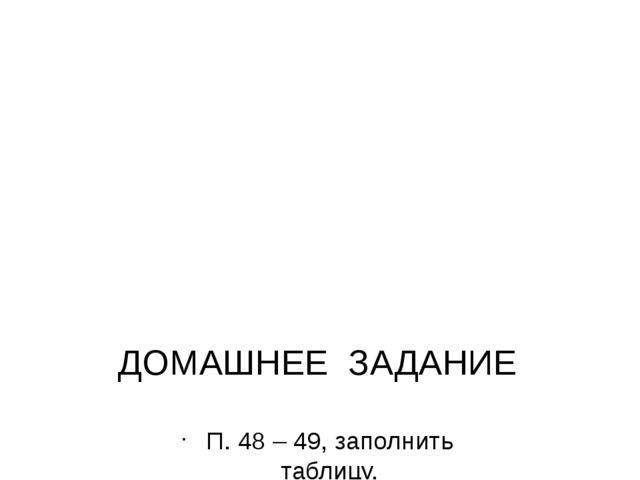 ДОМАШНЕЕ ЗАДАНИЕ П. 48 – 49, заполнить таблицу.