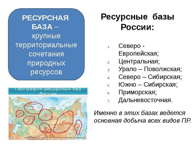РЕСУРСНАЯ БАЗА – крупные территориальные сочетания природных ресурсов Ресурсн...