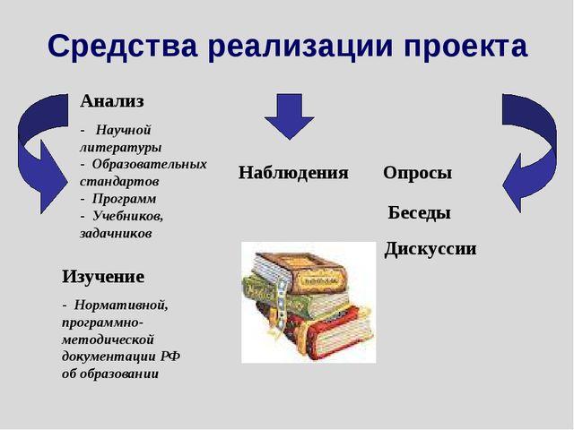Средства реализации проекта Анализ - Научной литературы - Образовательных ста...