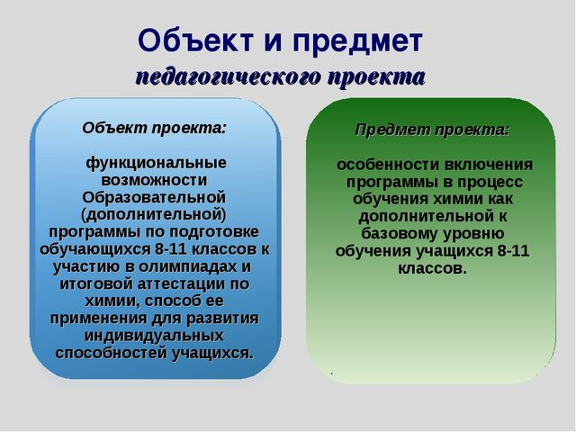 Объект и предмет педагогического проекта Объект проекта: функциональные возмо...