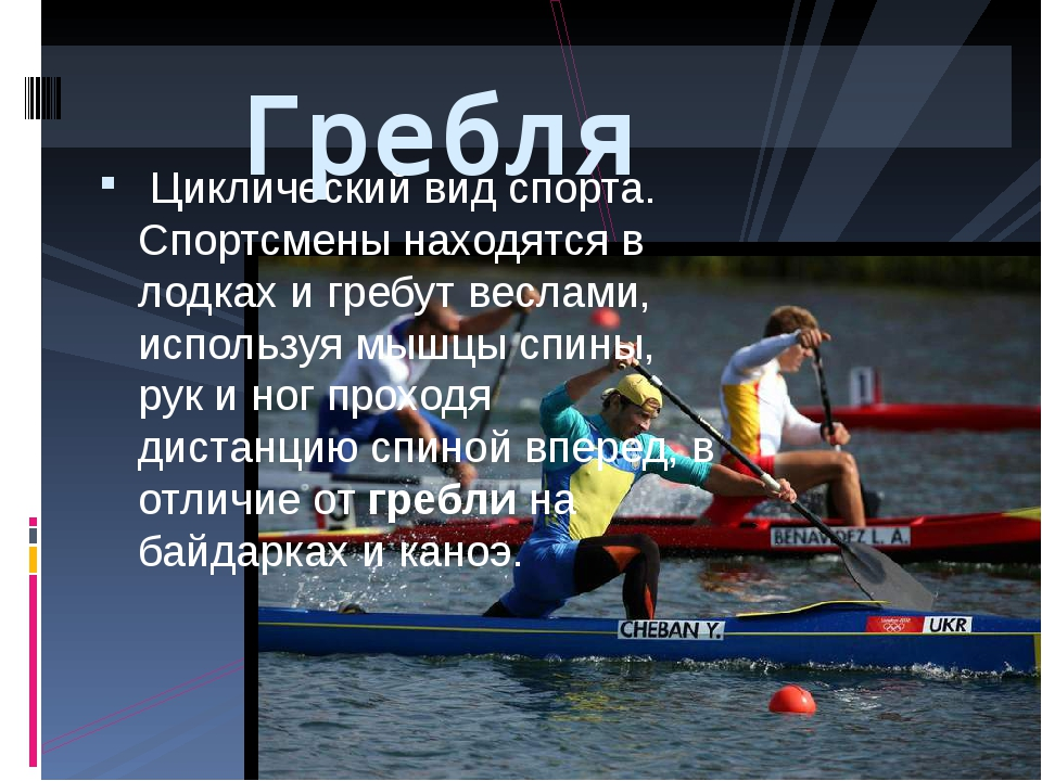 Циклический вид спорта. Спортсмены находятся в лодках и гребут веслами, испо...