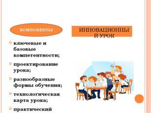 ключевые и базовые компетентности; проектирование урока; разнообразные формы