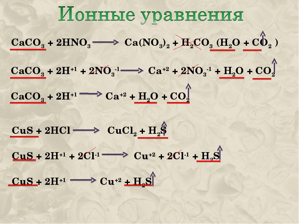 CaCO3 + 2HNO3 Ca(NO3)2 + H2CO3 (H2O + CO2 ) CaCO3 + 2H+1 + 2NO3-1 Ca+2 + 2NO3...