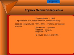 Год рождения - - 1985. Должность Предмет Педстаж - – 4. - - учитель.. - музык