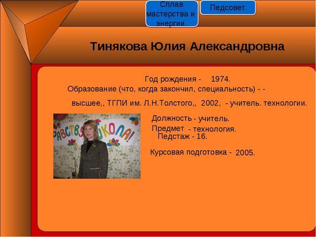 Год рождения - 1974. Должность Предмет Педстаж - 16. Курсовая подготовка - -...