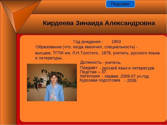 Год рождения - 1953 Должность Предмет Педстаж – 37. Категория Курсовая подгот...