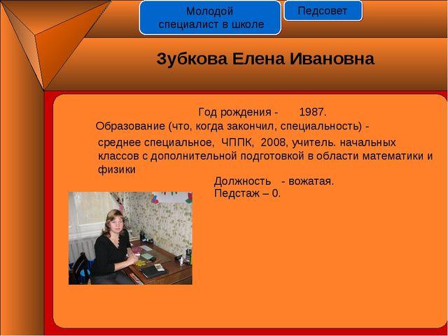 Год рождения - 1987. Должность Педстаж – 0. - вожатая. Зубкова Елена Ивановна...