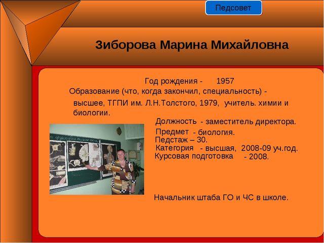 Год рождения - 1957 Должность Предмет Педстаж – 30. Категория Курсовая подгот...