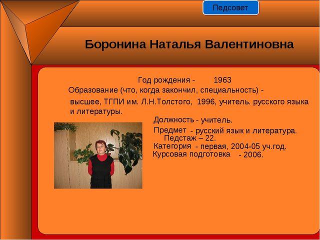 Год рождения - 1963 Должность Предмет Педстаж – 22. Категория Курсовая подгот...