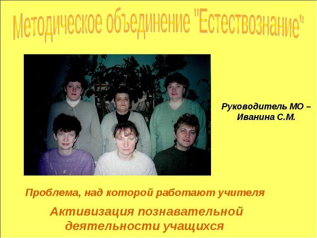 Проблема, над которой работают учителя Руководитель МО – Иванина С.М. Активиз...