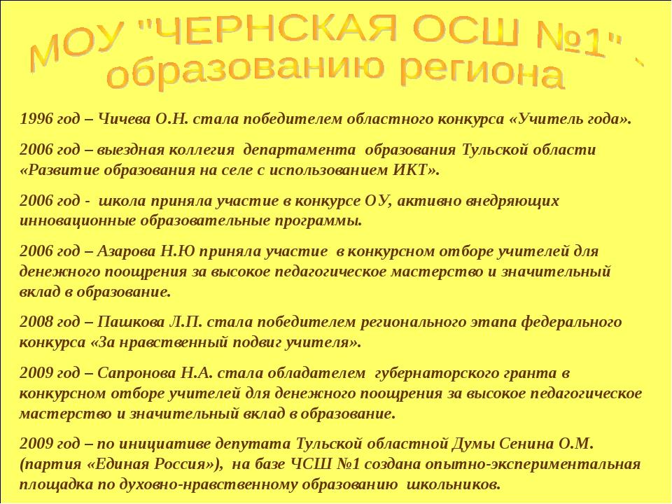 1996 год – Чичева О.Н. стала победителем областного конкурса «Учитель года»....
