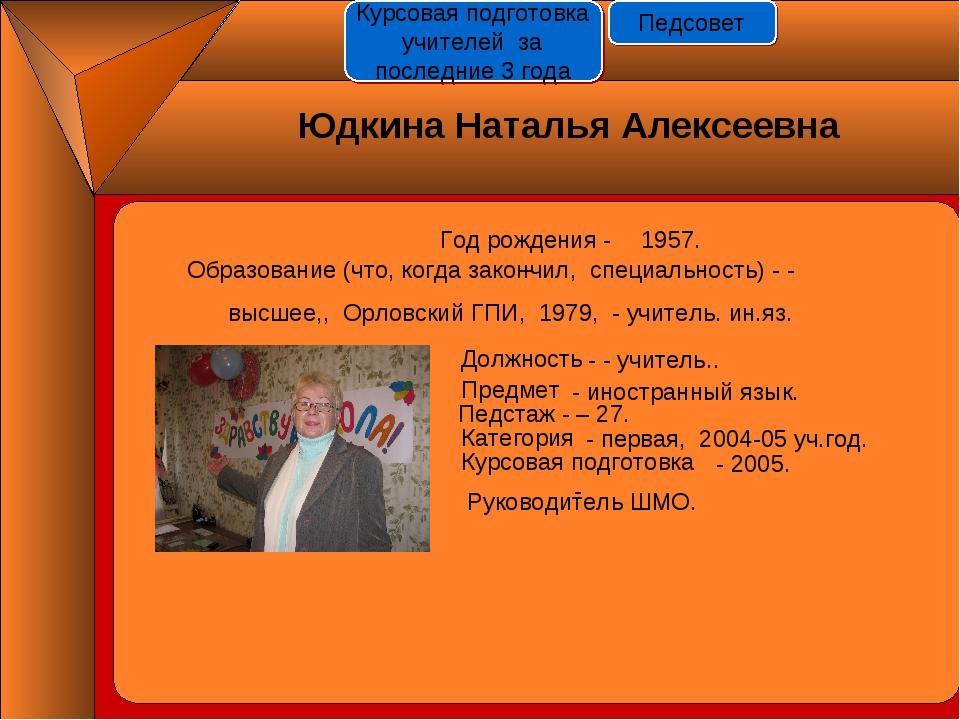 Год рождения - - 1957. Должность Предмет Педстаж - – 27. Категория Курсовая п...