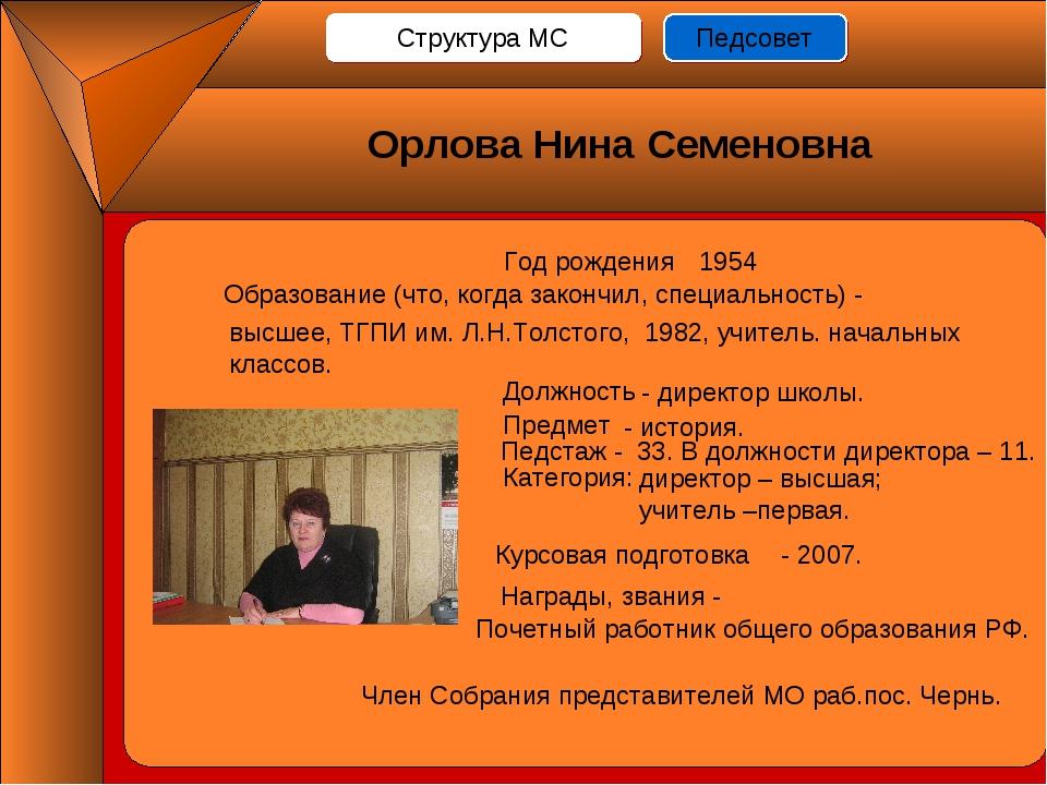 Год рождения - 1954 Должность Предмет Педстаж - 33. В должности директора – 1...