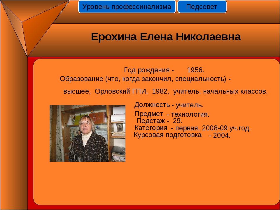 Год рождения - 1956. Должность Предмет Педстаж - 29. Категория Курсовая подго...