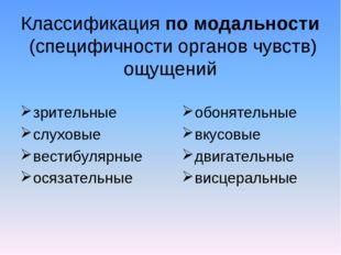 Классификация по модальности (специфичности органов чувств) ощущений зрительн