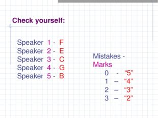 Check yourself: Speaker 1 - F Speaker 2 - E Speaker 3 - C Speaker 4 - G Speak
