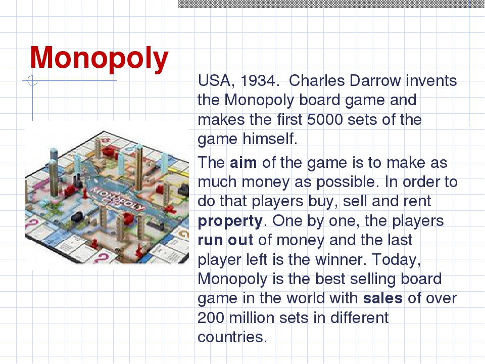Monopoly USA, 1934. Charles Darrow invents the Monopoly board game and makes...