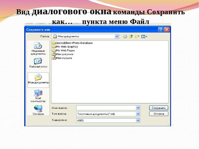 Вид диалогового окна команды Сохранить как… пункта меню Файл