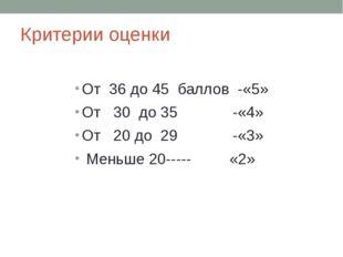 Критерии оценки От 36 до 45 баллов -«5» От 30 до 35 -«4» От 20 до 29 -«3» Мен