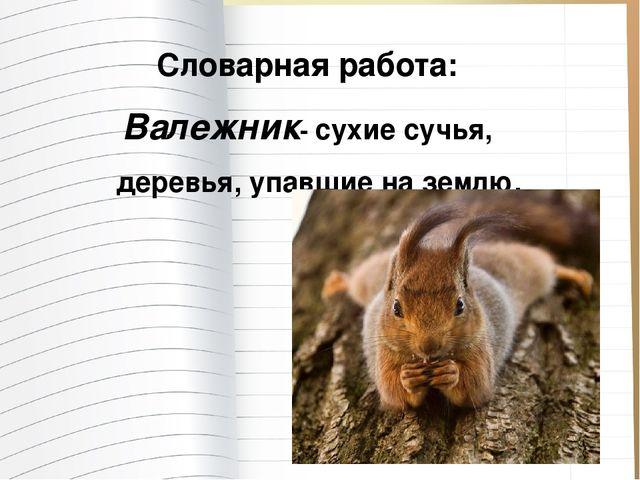 Словарная работа: Валежник- сухие сучья, деревья, упавшие на землю.
