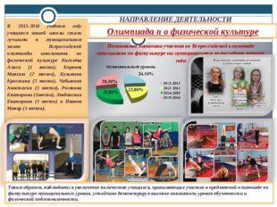 Олимпиада п о физической культуре НАПРАВЛЕНИЕ ДЕЯТЕЛЬНОСТИ В 2015-2016 учебно