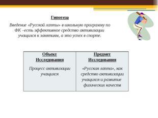 Гипотеза Введение «Русской лапты» в школьную программу по ФК –есть эффективно