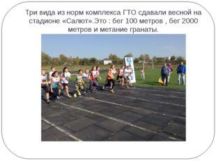 Три вида из норм комплекса ГТО сдавали весной на стадионе «Салют».Это : бег 1