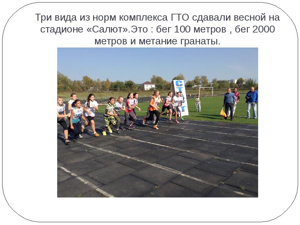 Три вида из норм комплекса ГТО сдавали весной на стадионе «Салют».Это : бег 1...