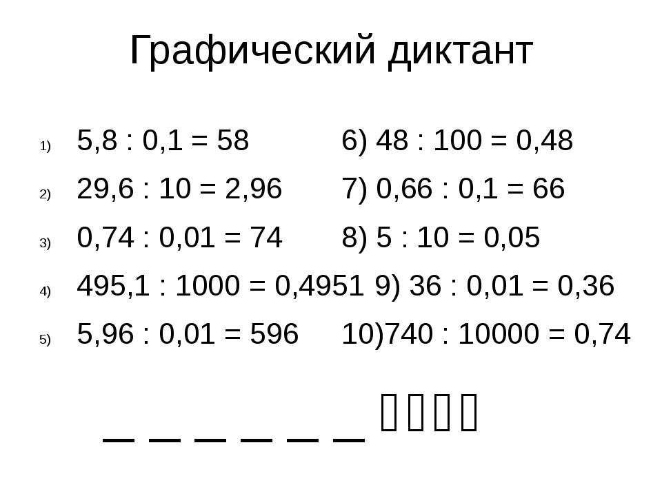 Графический диктант 5,8 : 0,1 = 586) 48 : 100 = 0,48 29,6 : 10 = 2,967)...