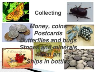 Collecting Money, coins Postcards Butterflies and bugs Stones and minerals Me