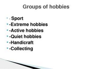 - Sport -Extreme hobbies -Active hobbies -Quiet hobbies -Handicraft -Collecti