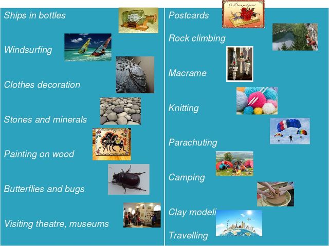 Ships in bottles Windsurfing Clothes decoration Stones and minerals Painting...