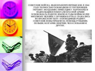 СОВЕТСКИЕ ВОЙСКА, ВЕДЯ КРАВОПРОЛИТНЫЕ БОИ, В 1944 ГОДУ ПОЛНОСТЬЮ ОСВОБОДИЛИ О