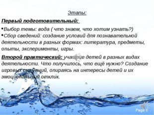 Этапы: Первый подготовительный: Выбор темы: вода ( что знаем, что хотим узнат
