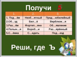 Реши, где Ъ 1.2.3. 1. Под…ёмНеоб…ятныйПред…юбилейный 2.Об…здБел…ёВерблю